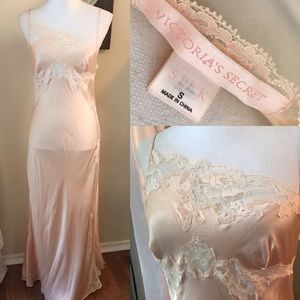victoria's secret silk and lace gown